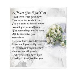 Mum Poem  - Wedding design Notepad