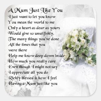 Mum Poem  - Wedding design Square Sticker