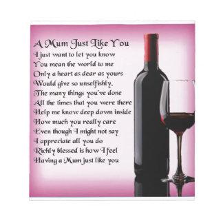 Mum Poem - Wine Design Notepad