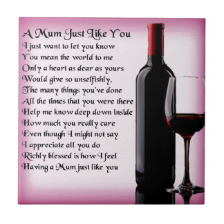 Mum Poem - Wine Design Tile