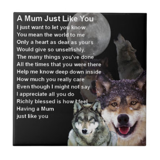 Mum Poem - Wolf Design Tile