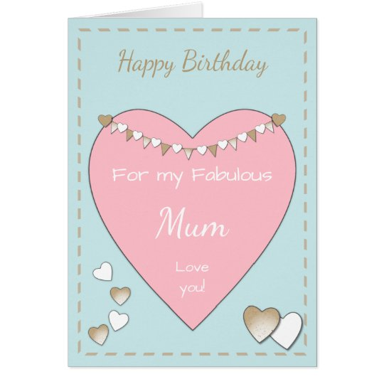 Mum Shabby Chic pink Birthday Card