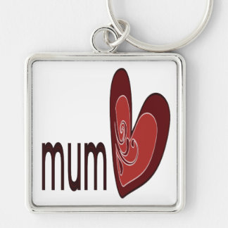 Mum Silver-Colored Square Key Ring