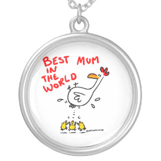mum silver plated necklace