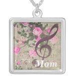 Mum Vintage Rose Music Square Necklace