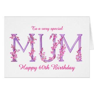 Mum watercolor Orchid custom 60th birthday card