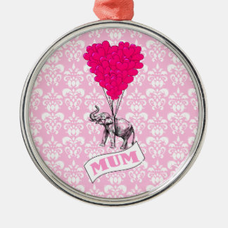 Mum with pink elephant christmas ornament