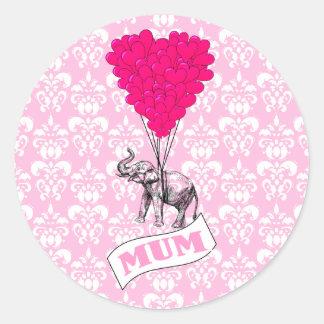 Mum with pink elephant classic round sticker