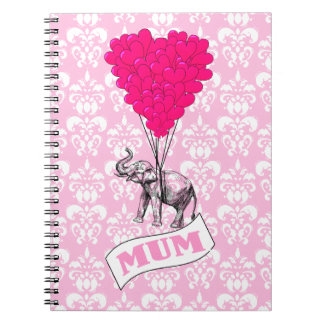 Mum with pink elephant notebook