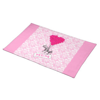 Mum with pink elephant placemat