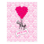 Mum with pink elephant postcard