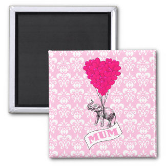 Mum with pink elephant square magnet