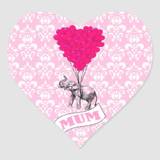 Mum with pink elephant heart sticker