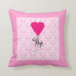 Mum with pink elephant throw pillow