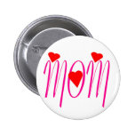 Mum with Red Hearts 6 Cm Round Badge