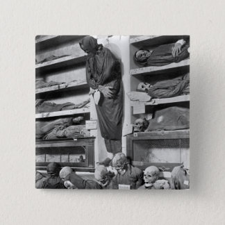 Mummies in the Palermo catacombs, Italy 15 Cm Square Badge