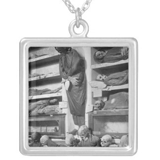 Mummies in the Palermo catacombs, Italy Silver Plated Necklace