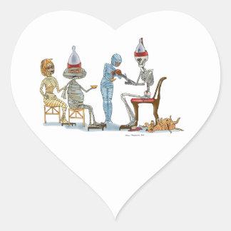 Mummific Skeleton Dinner Heart Sticker