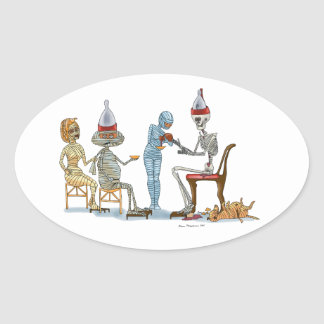 Mummific Skeleton Dinner Oval Sticker