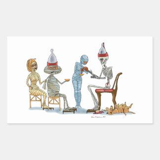 Mummific Skeleton Dinner Rectangular Sticker
