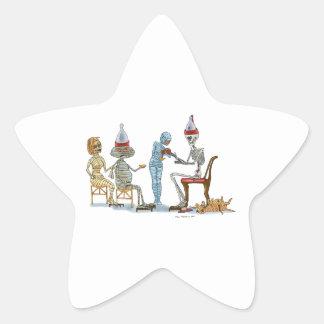Mummific Skeleton Dinner Star Sticker