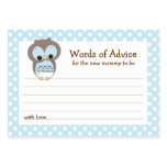 Mummy Advice Card Owl Baby Shower | Blue Pack Of Chubby Business Cards