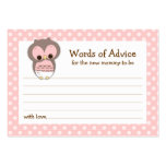 Mummy Advice Card Owl Baby Shower | Pink Pack Of Chubby Business Cards