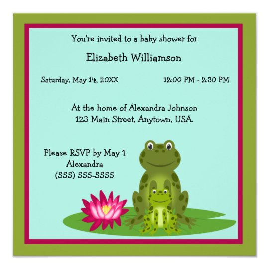 Mummy and Baby Frog Theme Baby Shower Card