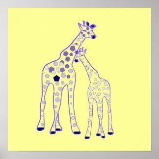 mummy and baby giraffe poster