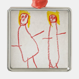 Mummy and Me Silver-Colored Square Decoration