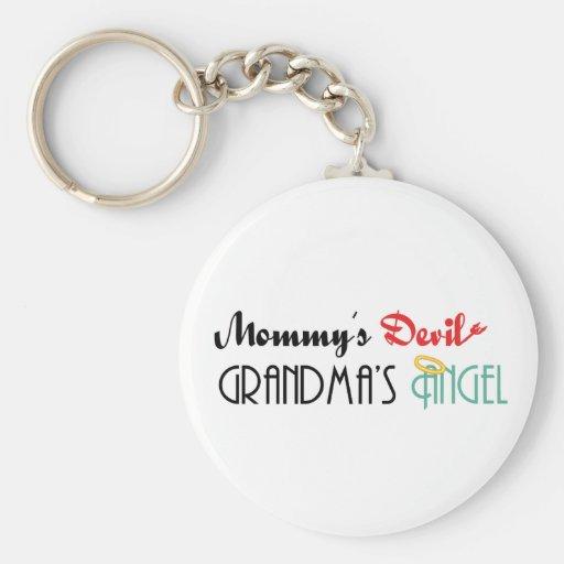 Mummy's Devil, Grandma's Angel Basic Round Button Key Ring