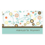Mummy Calling Card Flowers Green Brown Modern Pack Of Standard Business Cards