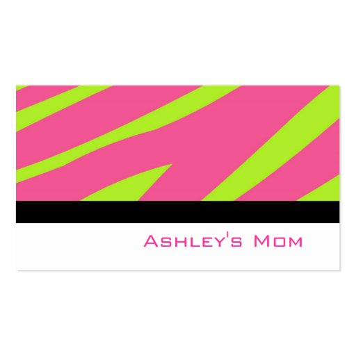Mummy Calling Card Pink Zebra Stripes Pack Of Standard Business Cards