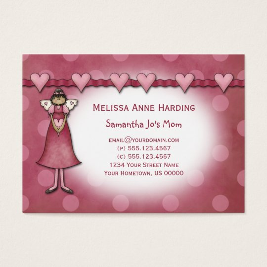 Mummy Calling Cards Pink Hearts Dots Angels
