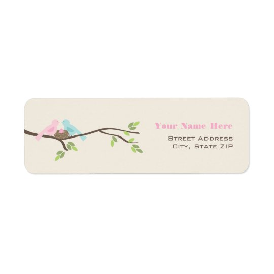 Mummy & Daddy Birds Pink Egg Baby Shower Return Address Label