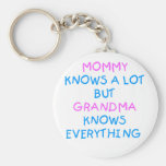 Mummy knows a lot but Grandma know everything Basic Round Button Key Ring