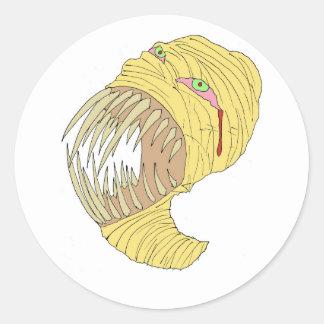 Mummy Maggot Art Round Sticker