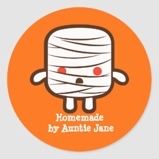 Mummy marshmallow round sticker