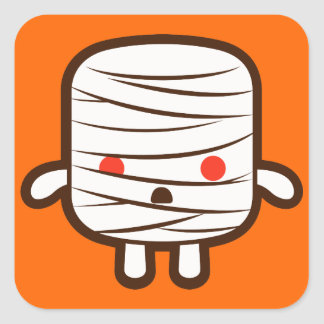 Mummy marshmallow square sticker