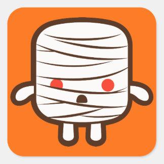 Mummy marshmallow square sticker