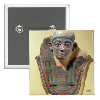 Mummy mask, from Mirgissa (stuccoed and painted pl 15 Cm Square Badge