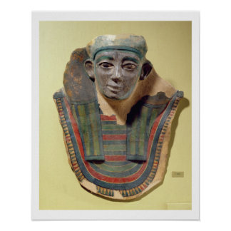 Mummy mask, from Mirgissa (stuccoed and painted pl Poster