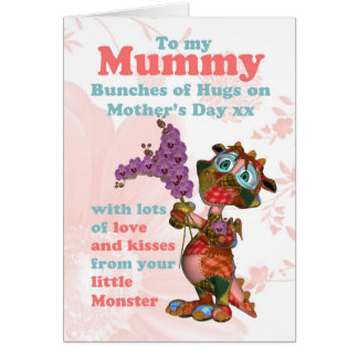 Mummy Mother's Day Card With Cute Little Cloth Dra