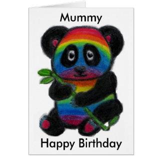 Mummy Mum Mam Rainbow Panda cute birthday card