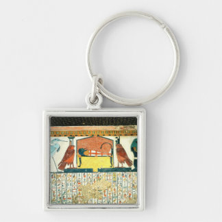 Mummy on a funeral bed with various divinities key ring