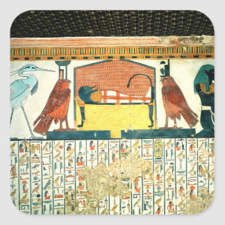 Mummy on a funeral bed with various divinities sticker