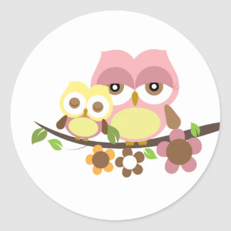 Mummy & owl baby girl sticker