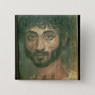 Mummy Portrait of a Man, from Fayum, Romano-Egypti 15 Cm Square Badge