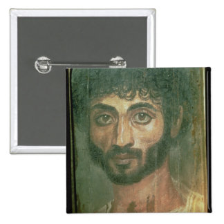 Mummy Portrait of a Man, from Fayum, Romano-Egypti 15 Cm Square Badge
