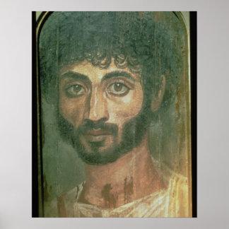 Mummy Portrait of a Man, from Fayum, Romano-Egypti Poster